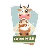 Cow with milk. Label or badge. Dairy farm logo. Natural food, organic product, locally grown. Cartoon cow with bucket of milk. Cute and funny dairy cow. Farmers Stock Image