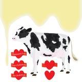 Cow milk love. Illustration elements milk cow love white background Stock Photography