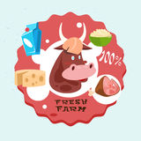 Cow Milk Meat Products Fresh Eco Farm Logo Stock Photography