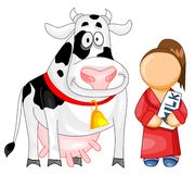 Cow and a milker. Illustration for web icon. Funny cow and a milker with a milk box, isolated on white background Royalty Free Stock Image