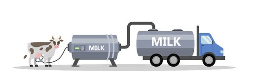 Cow and milking machine. Automatic milk production. Dairy industry. Isolated vector flat illustration vector illustration