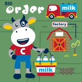 Cow the milkman funny cartoon,vector illustration. For t shirt and wallpaper royalty free illustration