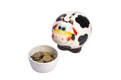 Cow a moneybox before a feeding trough. Cow a moneybox before a cup with coins on a white background Royalty Free Stock Images