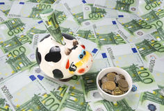 Cow a moneybox on a green field of euro. Notes and a feeding trough of coins Stock Photo