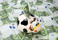 Cow a moneybox on a green field of euro notes Royalty Free Stock Photos