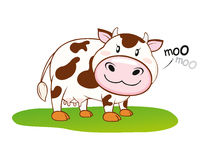 Cow moo moo. Cow eating grass, the artwork made with  the help of  based software Royalty Free Stock Images