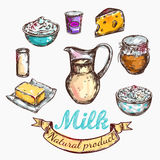 Cow And Nature Milk Color Sketch Royalty Free Stock Photo