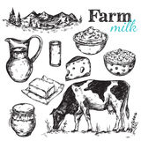 Cow And Nature Milk Sketch. With black drawn  icon set about farm and milk themes vector illustration Royalty Free Stock Photos