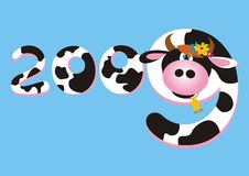 Cow number 2009. New year background with number 2009 and cow Royalty Free Stock Photography