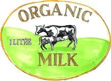 Cow Organic Milk Label Drawing Stock Photos