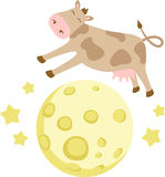 Cow Over Moon Stock Image