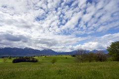 Fertile luscious farmland in Germany`s Bavarian Alps. Cow pastures and open farmland mark the foothills of the alps in Germany`s Bavarian region royalty free stock images