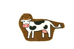 Cow pattern on fabric Stock Photos