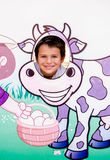 Cow picture cut out and little boy Royalty Free Stock Images