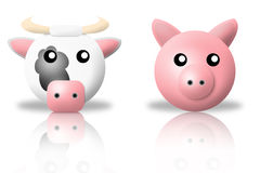 Cow and pig animals icons stock image