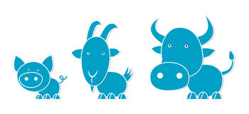 Farm animals. Cow, pig and goat, cartoon illustration Royalty Free Stock Photography