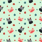 Cow and pig pattern royalty free illustration
