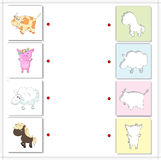 Cow, pig, sheep and horse. Educational game for kids Stock Photo