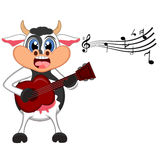 Cow playing guitar cartoon Royalty Free Stock Photography