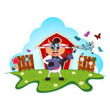 Cow playing guitar cartoon in a farm for your design Royalty Free Stock Photos