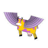 Cow with purple wings. Flying animal.  illustration. Fanta Stock Photos