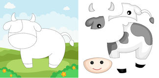 Cow puzzle vector illustration