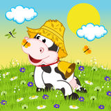 Cow resting on meadow. Vector illustration, eps royalty free illustration