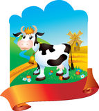 Cow with ribbon Royalty Free Stock Images