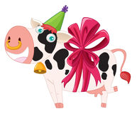 Cow with ribbon Stock Images
