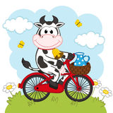Cow riding a bicycle with milk. Vector illustration, eps royalty free illustration