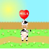 Cow on the road. Cow with a balloon on the road vector illustration