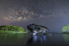 Cow Rock and the MilkyWay Stock Image
