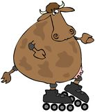 Cow On Rollerblades Stock Images