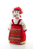 Cow in russian traditional costume. Figure of cow toy in russian traditional costume royalty free stock image