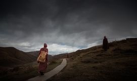 Monks on the Mountain trail royalty free stock photo