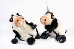 Cow`s a crowed. Two fun cow figurines isolated on white background Royalty Free Stock Image