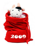 Cow In Santa'S Bag 2009. Cow sits in santa's bag with new year presents 2009 Royalty Free Stock Photo