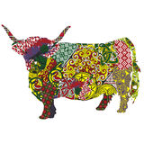Cow in the Scottish patterns. Silhouette of a Scottish highland cow in Celtic patterns stock illustration