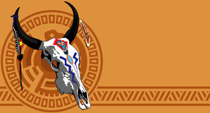 Cow scull. Vector illustration of psychedelic ethnic cow scull with feathers Stock Photos