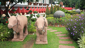 Cow sculpture decorated the garden Royalty Free Stock Image