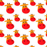 Cow seamless pattern. Cow head vector cartoon style. Seamless pattern Stock Illustration