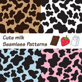 Cow seamless patterns. Set of Cow spots seamless patterns. Abstract texture for chocolate and strawberry milk design Royalty Free Stock Photography