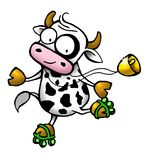 Cow series - roller skate. Funny milky cow making roller skate Stock Photo