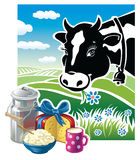 Cow with a set of dairy products. Royalty Free Stock Image