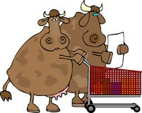 Cow Shoppers. This illustration depicts a cow couple with a shopping cart Royalty Free Stock Images