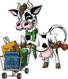 Cow Shoppers. Vector.Color.All elements layered black line drained Stock Photos
