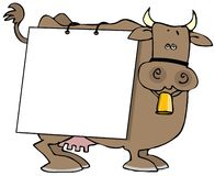 Cow Sign. This illustration depicts a cow with a blank sign on its side Stock Image