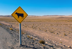Cow sign in the andes Stock Images