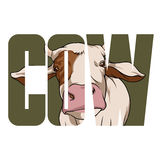 Cow sign. Vector cow  poster with double exposure effect Stock Photography
