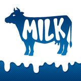 Cow silhouette emblem design on drips of milk Royalty Free Stock Photography
